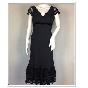 Loft Silk Sheath Dress Size 2 Lace Ruffle Detail